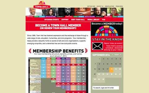 Screenshot of Support Page townhallseattle.org - Become a Town Hall Member(or Renew Your Membership)! - captured Sept. 19, 2014