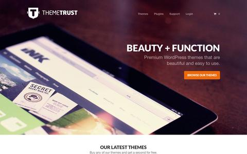 Screenshot of Home Page themetrust.com - Premium Professional WordPress Themes | Theme Trust - captured Sept. 18, 2014