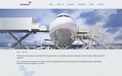 Screenshot of Site Map Page aviance.com - Aviance Alliance - Find Your Way Around Our Website - captured Oct. 27, 2014