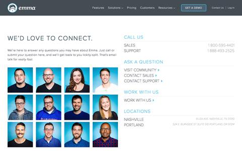Screenshot of Contact Page myemma.com - Contact Emma | Emma Email Marketing - captured Sept. 22, 2017