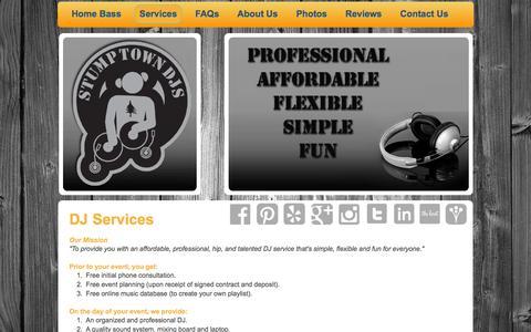 Screenshot of Services Page stumptowndjs.com - Stumptown DJs - Services - captured Feb. 26, 2016