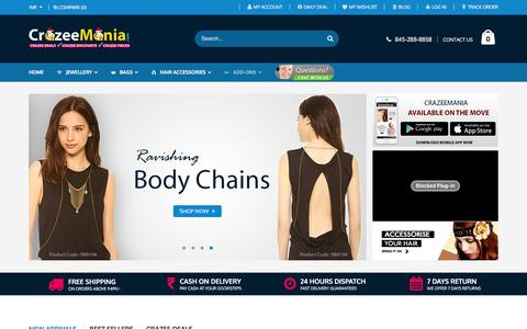 Screenshot of Home Page crazeemania.com - Online Fashion Boutique | Buy Imitation Jewellery | CrazeeMania - captured Jan. 28, 2016
