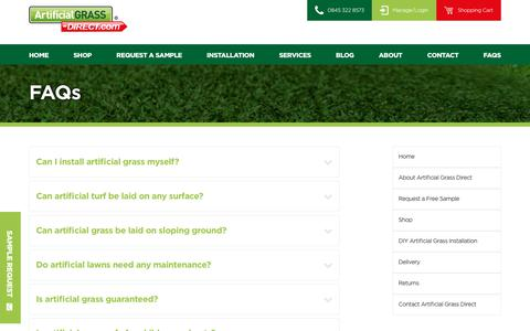 Screenshot of FAQ Page artificialgrass-direct.com - Frequently Asked Questions - Artificial Grass Direct - captured Oct. 8, 2017