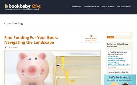 Screenshot of Blog bookbaby.com - crowdfunding | BookBaby Blog - captured Feb. 27, 2017