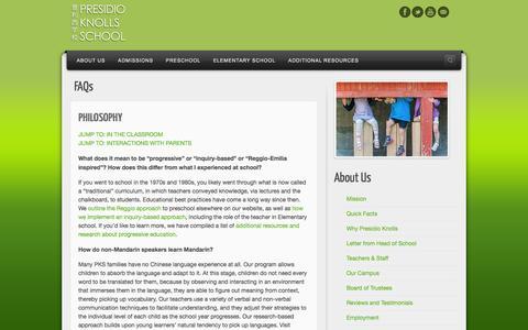 Screenshot of FAQ Page presidioknolls.org - FAQs about Presidio Knolls School - captured Oct. 3, 2014