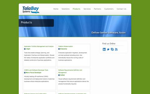 Screenshot of Products Page talabaysystems.com - Products | TalaBay Systems LLC - captured Dec. 3, 2016