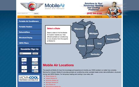 Screenshot of Locations Page mobileair.com - Mobile Air Locations | Mobile Air - Portable Air Conditioner and Heater Rental - captured Oct. 26, 2014