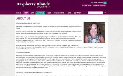Screenshot of About Page raspberryblonde.co.uk - About Us > 			Raspberry Blonde Home > 		Raspberry Blonde Shoe Party - captured Oct. 7, 2014