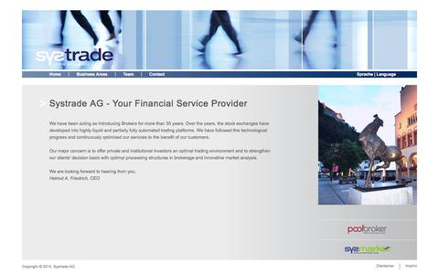 Screenshot of Home Page systrade.com - Systrade AG - captured Oct. 3, 2014