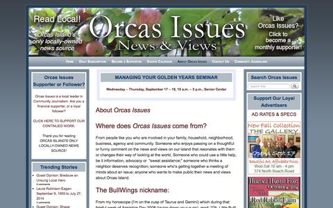 Screenshot of About Page orcasissues.com - About Orcas Issues - Orcas Issues: News & Views - captured Sept. 19, 2014