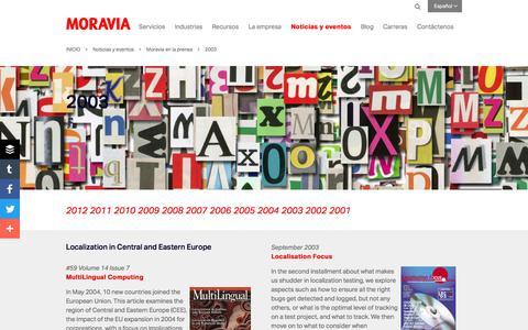 Screenshot of Press Page moravia.com - 2003 - Moravia - captured Oct. 3, 2017