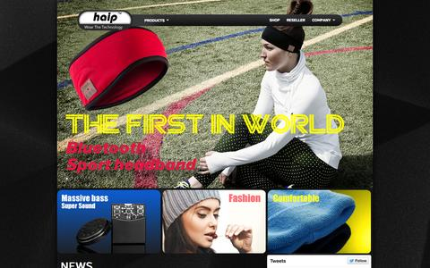 Screenshot of Home Page haipproducts.com - Haip™ :Bluetooth Headphone Beanie&Headband,Headset Gloves Supplier Wear The Technology™ - captured Oct. 1, 2014