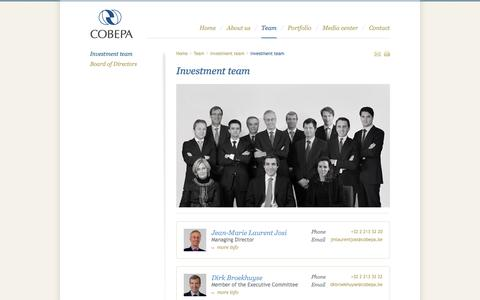 Screenshot of Team Page cobepa.be - Investment team | Cobepa - captured Sept. 30, 2014