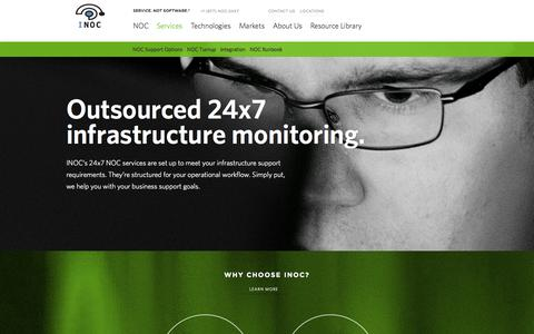 Screenshot of Services Page inoc.com - Network Monitoring Services - captured Oct. 4, 2014