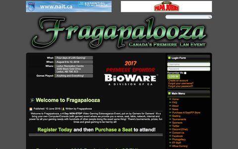 Screenshot of Home Page fragapalooza.com - Fragapalooza - Home - captured Jan. 10, 2018