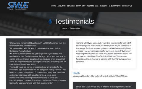 Screenshot of Testimonials Page stylussnlpro.com - STYLUS Sound & Light Professionals, Bangalore, India - captured Oct. 1, 2018