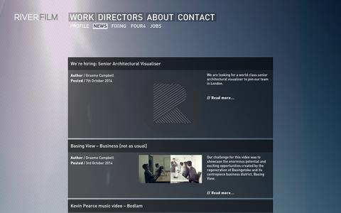Screenshot of Press Page riverfilm.com - News | Film Production Company London - River Film - captured Oct. 7, 2014