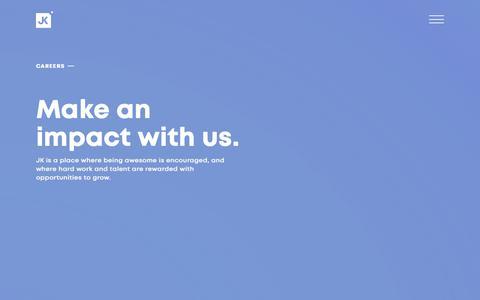 Screenshot of Jobs Page jkdesign.com - Join Our Team   Careers @ JK Design - Creative Marketing Agency - captured Oct. 31, 2018