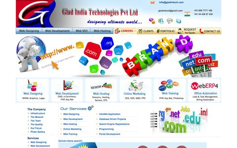 Screenshot of Home Page Privacy Page Terms Page gladintech.com - WEB DESIGNING COMPANY IN CHENNAI INDIA - captured Oct. 2, 2014