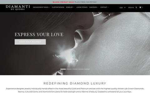 Screenshot of Home Page quorri.com - Diamanti Lab Created Diamond Affordable Engagement Rings - captured Nov. 17, 2018