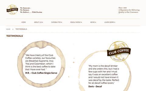 Screenshot of Testimonials Page myshopify.com - Testimonials   Club Coffee - captured Jan. 1, 2017
