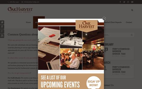 Screenshot of FAQ Page oakharvestfg.com - FAQ - Oak Harvest Financial Group - captured Feb. 16, 2016