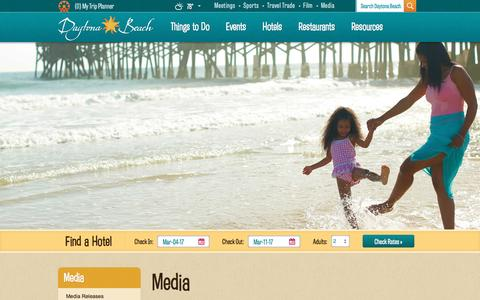 Screenshot of Press Page daytonabeach.com - Daytona Beach Media | Media Resources, Events, Press - captured Feb. 25, 2017