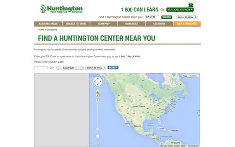 Screenshot of Locations Page huntingtonhelps.com - Best Tutors | Find a Huntington Learning Center Location - captured Sept. 23, 2014