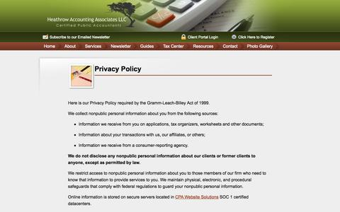 Screenshot of Privacy Page heathrowaccounting.com - Heathrow Accounting Associates, Heathrow, Lake Mary, Florida, FL - captured Oct. 2, 2014