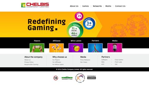 Screenshot of Home Page chelbis.com - Chelbis Company Limited – Redefining online gaming operations since 2007 - captured Oct. 2, 2014