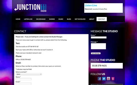 Screenshot of Contact Page junction11radio.co.uk - Contact   Junction11 Radio - captured Sept. 30, 2014