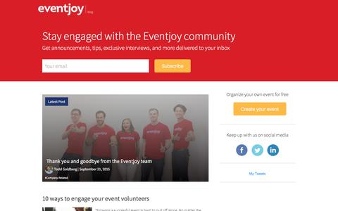 Screenshot of Blog eventjoy.com - Eventjoy Blog - Get announcements, tips, exclusive interviews, and more delivered to your inbox - captured Nov. 25, 2015