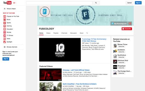 Screenshot of YouTube Page youtube.com - FUSICOLOGY  - YouTube - captured Oct. 23, 2014