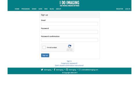 Screenshot of Signup Page idoimaging.com - I Do Imaging - captured May 25, 2017