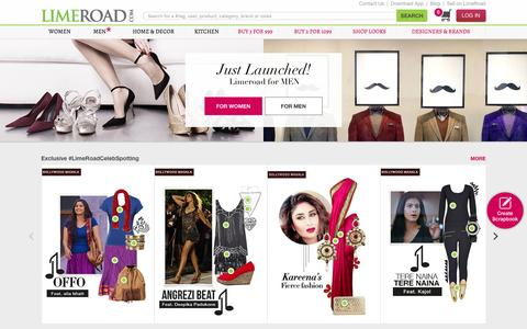 Screenshot of Home Page limeroad.com - Online Shopping India - Buy Clothes, Shoes, Bags, Accessories for Men & Women Online - captured Aug. 20, 2016
