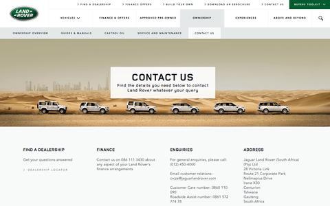 Screenshot of Contact Page landrover.co.za - Land Rover - Contact Us - captured Jan. 25, 2016