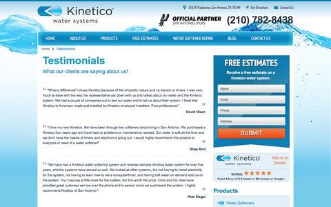 Screenshot of Testimonials Page kineticosa.com - Home Water Systems Reviews | Kinetico San Antonio - captured Feb. 12, 2016