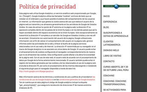 Screenshot of Privacy Page dionisiomelo.com - Política de privacidad - Dionisio Melo Internacional - captured Oct. 5, 2014