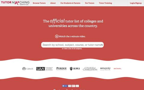 Screenshot of Home Page tutormatchingservice.com - Private Tutoring, Find a Tutor - Tutor Matching Service - captured Sept. 30, 2014
