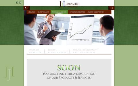 Screenshot of Products Page jjinsurancepr.com - J. Jaramillo Insurance - captured Nov. 17, 2016