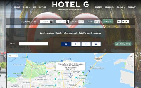 Screenshot of Maps & Directions Page hotelgsanfrancisco.com - Hotel G San Francisco Directions - San Francisco Hotels - captured July 22, 2018