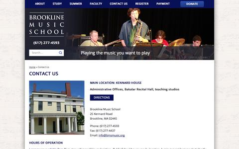 Screenshot of Contact Page Hours Page bmsmusic.org - Contact Us » Brookline Music School - captured Oct. 23, 2014