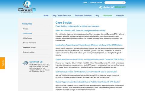 Screenshot of Case Studies Page cloud9resource.com - Microsoft Dynamics Case Studies - Los Angeles, San Diego, Irvine | Cloud9 Resource - captured Oct. 2, 2014