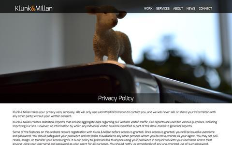 Screenshot of Privacy Page klunkmillan.com - Privacy Policy | Klunk & Millan Advertising - captured Nov. 27, 2016