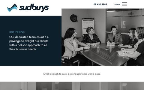 Screenshot of Team Page sudburys.co.nz - Meet the Sudburys team – for Proactive Business Advice - captured March 16, 2019