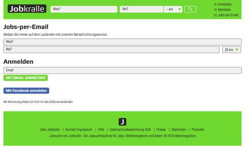 Screenshot of Signup Page jobkralle.de - Jobbörse Deutschland | Stellenangebote Jobbörse - captured Oct. 28, 2017