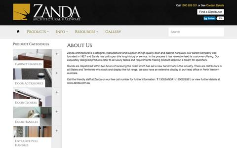 About us - Zanda Architectural Hardware