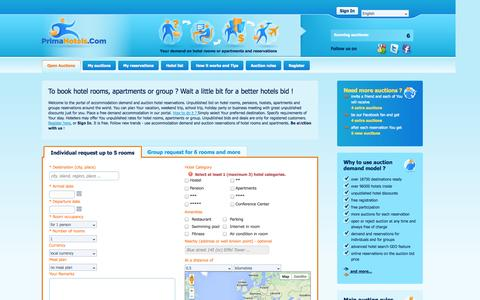 Screenshot of Home Page primahotels.com - PrimaHotels.Com | Auction bid hotel rooms reservations, deals, apartments and groups - captured Oct. 3, 2014