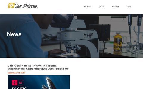 Screenshot of Press Page genprime.com - GenPrime - captured Sept. 27, 2018