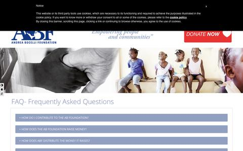 Screenshot of FAQ Page andreabocellifoundation.org - FAQ- Frequently Asked Questions | ABF - captured Oct. 6, 2017
